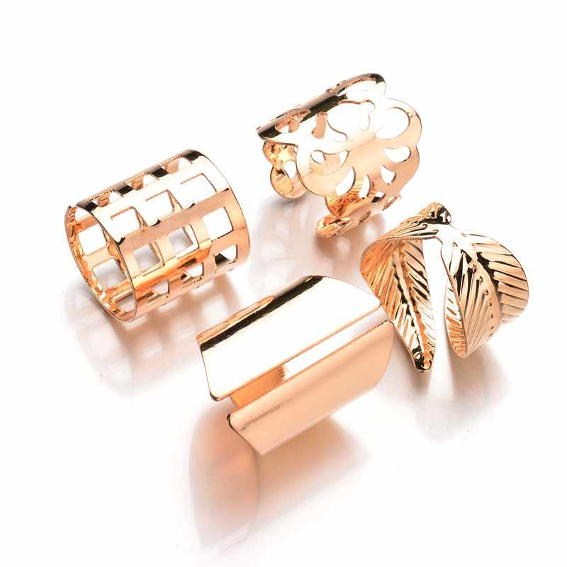 MissCyCy 4 pcs/sets Punk Gold Color Leaves Big Size Knuckle Ring Set 2017 New Arrival Hollow Flowers Rings For Women Gift
