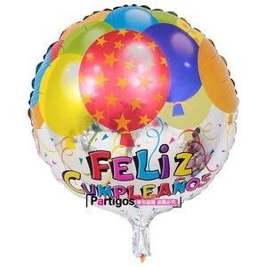 Image 4 - 100 adet toptan 18 inç İspanyol mutlu doğum günü folyo balonlar Mix stil doğum günü partisi dekorasyon helyum şişme Balao Globos