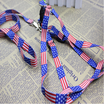U.S.A National flag Pattern Dog Running Hauling Cable Nylon Traction Rope Pet Red Blue Black Pink Harness Adjustable +B A3-1