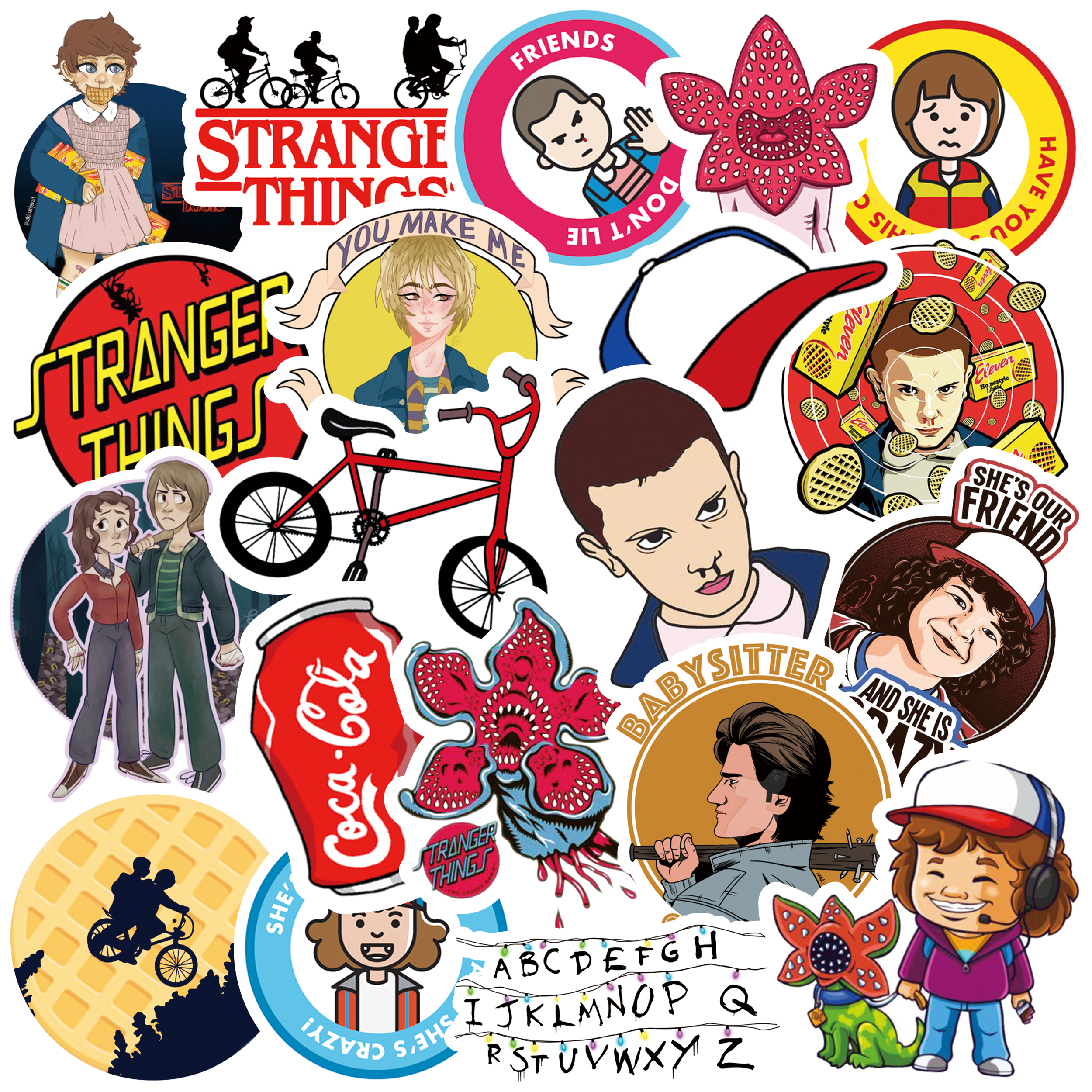 30PCS Pack Stranger Thing Stickers Set Anime Toy Sticker For Luggage Skateboard