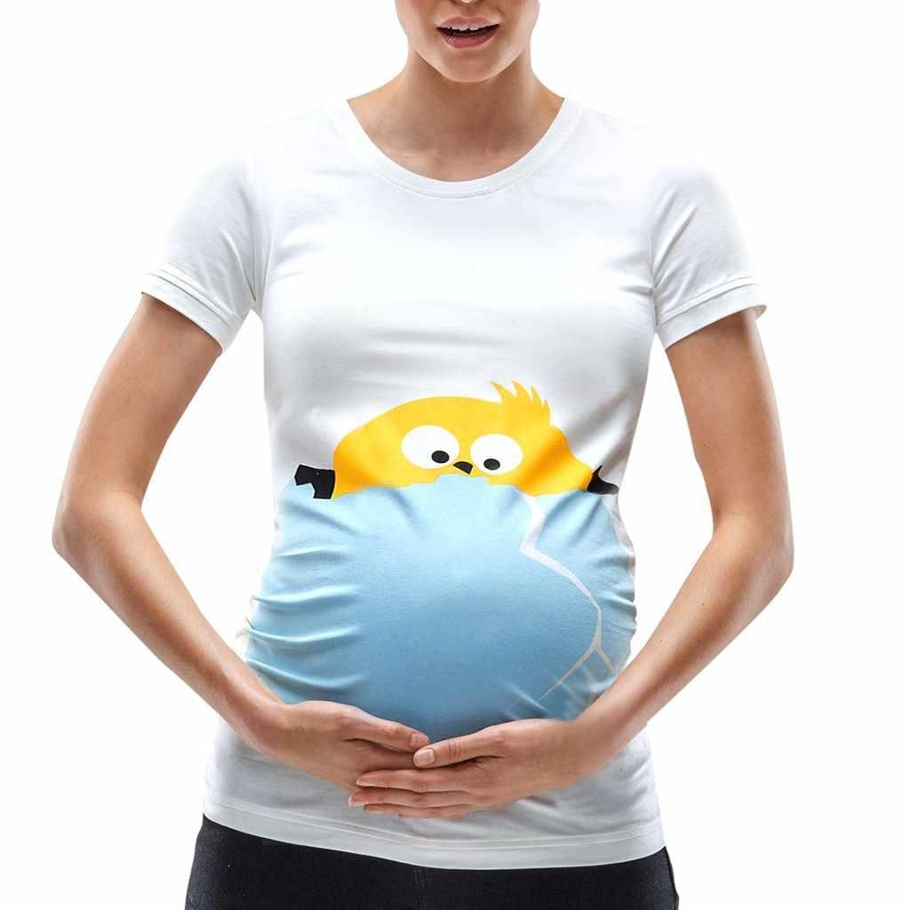695baf4e87e79 ... Easter Women Maternity Short Sleeve Cartoon Chick Tops T-shirt  Pregnancy Clothes clothes for pregnant ...