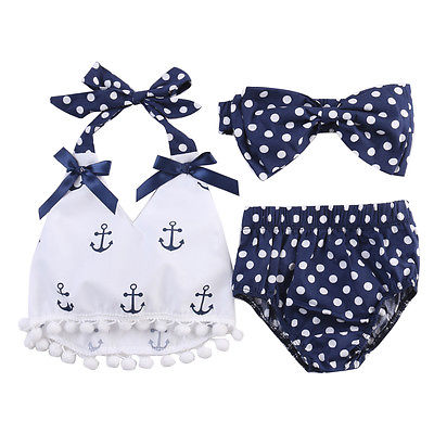 Cute Baby Girls Clothes Anchors bow-knot Hanging neck Tops+Polka Dot Briefs+Royal blue bow-knot HeadBand 3pcs Outfits Set polka dot baby girls clothes backless flounced kid girls rompers jumpsuit playsuit one pieces outfits 0 18m blue pink purple