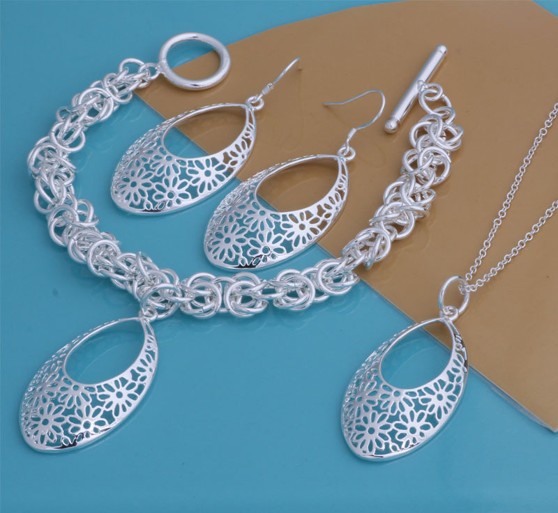fashion jewelry set silver plated necklace earrings bracelet sets wedding party gift Jewelry Sets Women YAT106 - Sunny group store