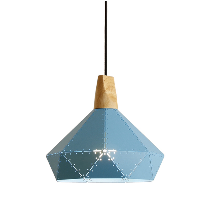 2017 NEW Led modern Iron Or Wood Diamond Pendant Light For Bedroom Bar Cafe Hanging Lamp blue pink yellow gray colorful lustres modern iron 3heads yellow gray blue pendant light study macarons restaurant bar inline chandel lighting pendant lamps za925435