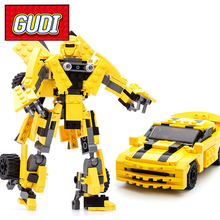 Gudi Transforms Robot Yellow Car figure Bricks City Building Blocks compatible withCreator Educational Toys For Children decool 3341 technic city series the extreme cruiser suv car figure blocks building bricks toys for children compatible legoe