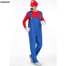 HUGGUH Brand New Super Mario Brothers RPG Halloween Masquerade Cosplay Costume Plumber Role Play Exotic Apparel H15864