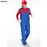 Real Male Super Mario And Luigi Brothers RPG Halloween Masquerade Disfraces Cosplay Suit Plumber Role Play