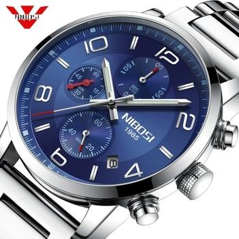 NIBOSI Reloj Hombre 2019 Watch Mens Military Waterproof Top Brand Watches Stainless Steel Quartz Clock Man Full Steel WristWatch