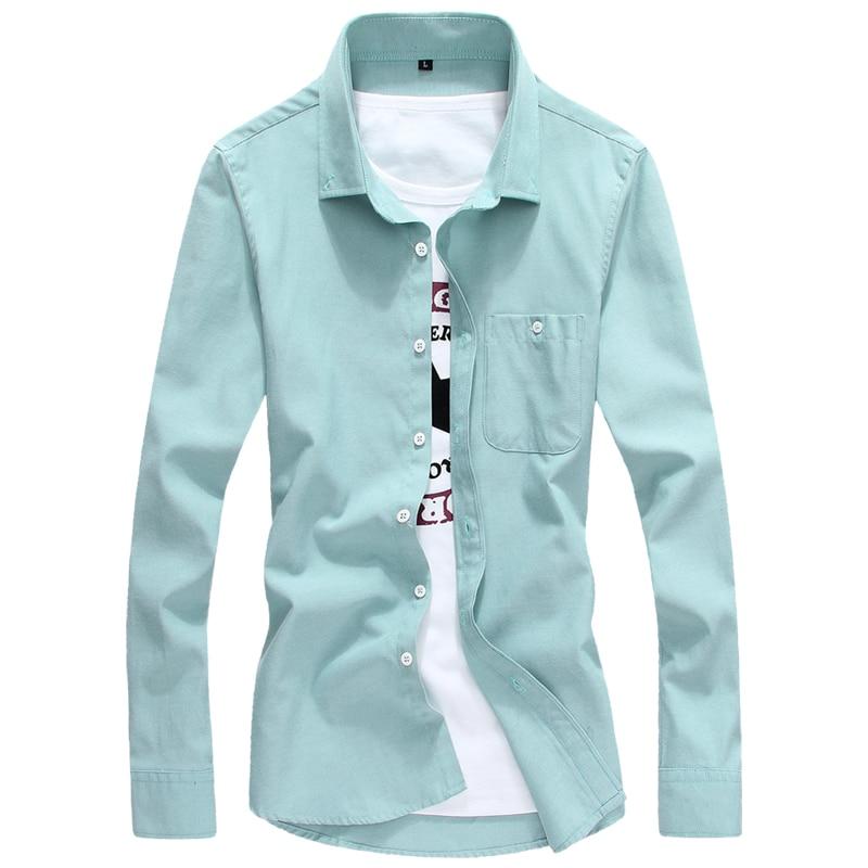 40810b1d60 2017 dos homens camisa casual slim fit sólidos camisas primavera verão camisas  camisa masculina manga longa Maxi Plus size M-5XL HY387