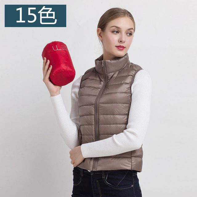 2ed9a7f2d7d New Women s Vest Ultra Light Down Vests Sleeveless Jacket Gilet colete  feminino de inverno Plus size S - XXXL 15 Colors