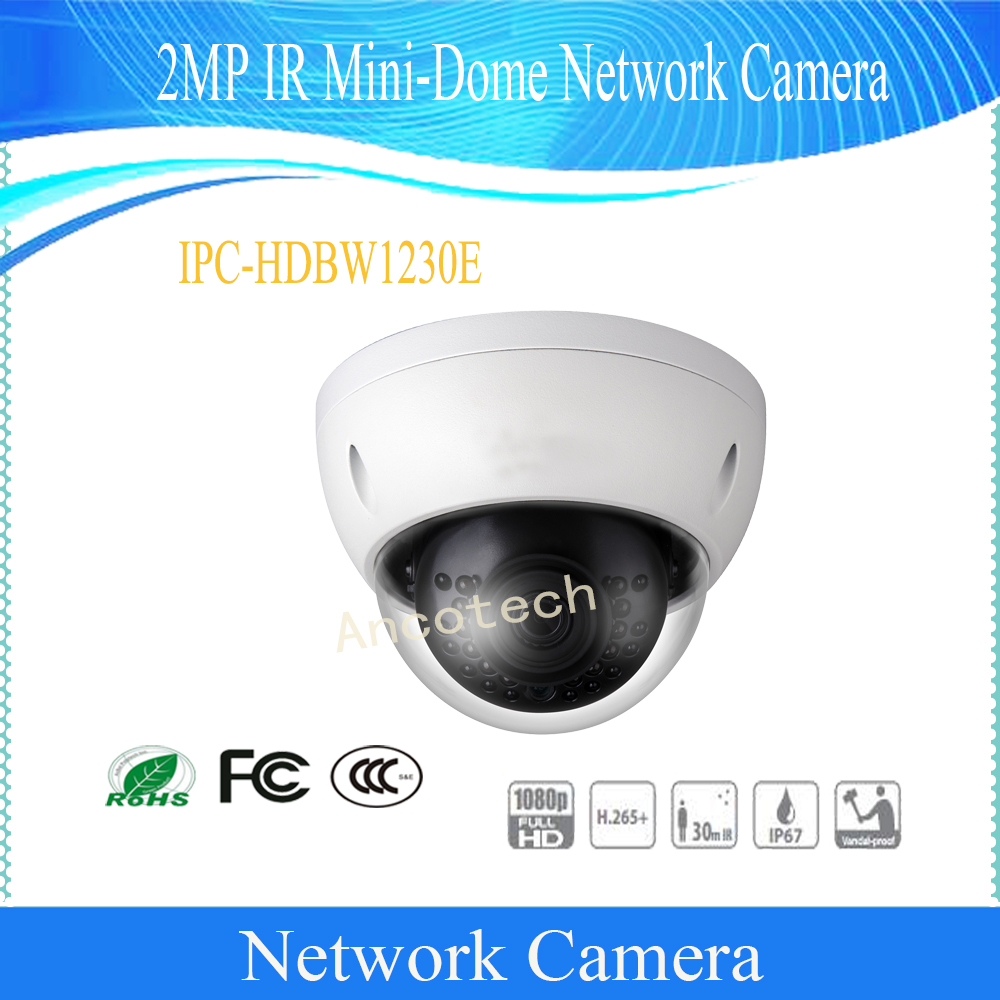 Free Shipping DAHUA Security IP Camera 2MP Day/Night 1080P IR Mini-Dome Network Camera With POE IP67 without Logo IPC-HDBW1230E 4 in 1 ir high speed dome camera ahd tvi cvi cvbs 1080p output ir night vision 150m ptz dome camera with wiper