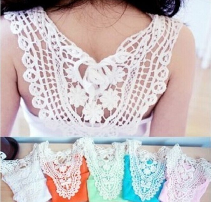 EMS-DHL-Free-Shipping-Lace-Vest-Sleeveless-T-Shirt-Girls-crochet-lace-tops-fashion-back-hollow