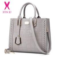 YANXI Crocodile Leather Women Bag Fashion Designer Handbags Luxury Quality Lady Shoulder Crossbody Bag Weave Women