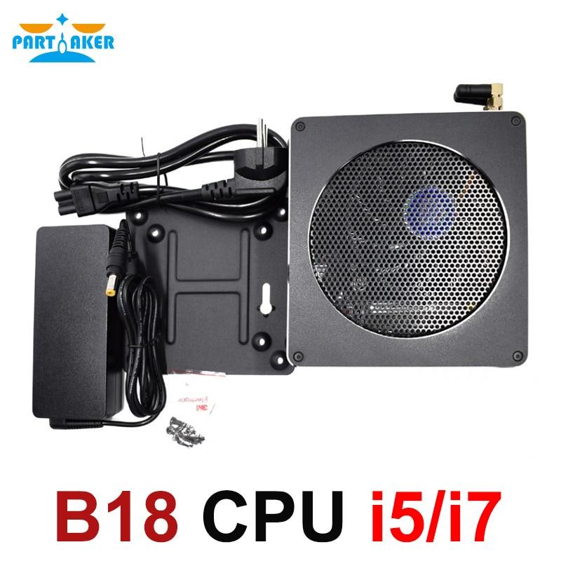Mini PC Intel Core CPU i5 6568R i7 6785R i7 8750 H Mini Ordinateur De Bureau Ventilateur De Refroidissement Windows 10 4 k Ordinateur