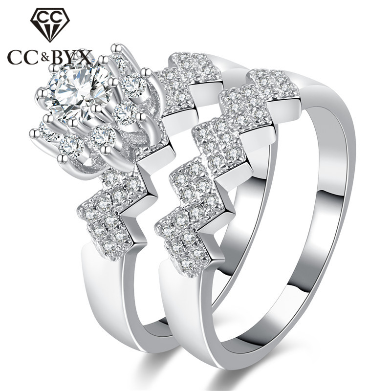 Cc Rings For Women Luxury Jewelry Wave Flower Shaped Set Ring Bride Wedding Bijoux Engagement Anillos Mujer Cc887 In From Accessories