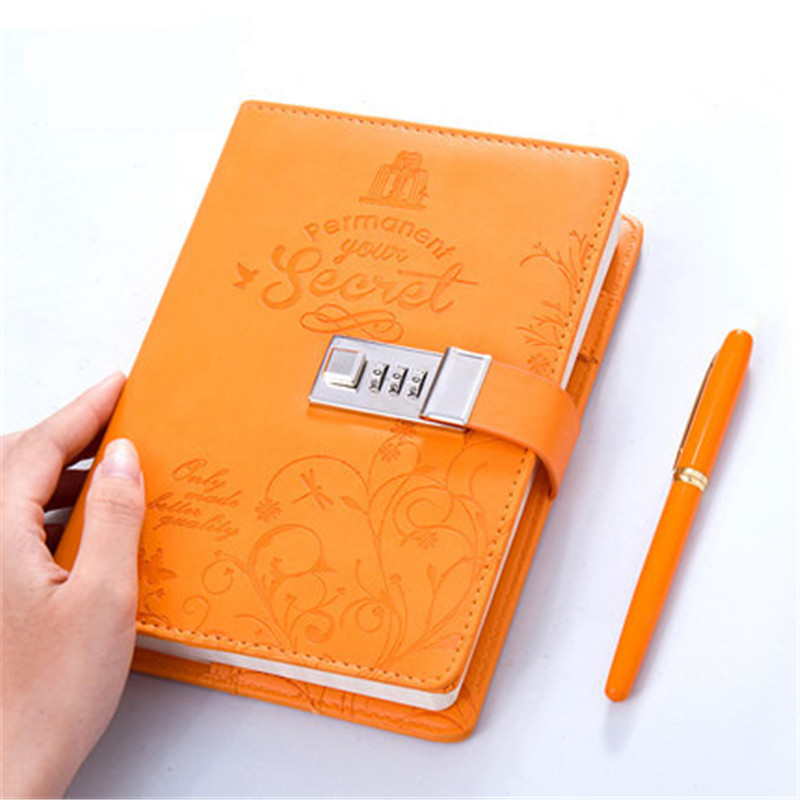 цена на New Leather Notebook with Lock code Persoanl Diary notepad paper 120 sheets note book Office school supplies Gift
