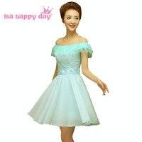 Vintage corset court longueur encolure illusion robe de bal princesse bleu robes pageant formelle à la menthe spéciales robes H3559