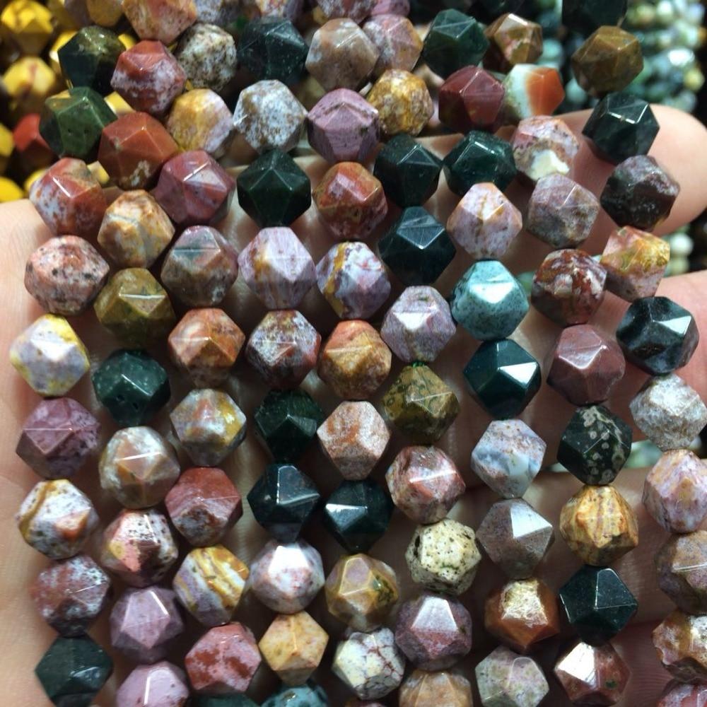 Faceted Ocean Jasper Stone Beads Natural Gemstone Beads Diy Loose