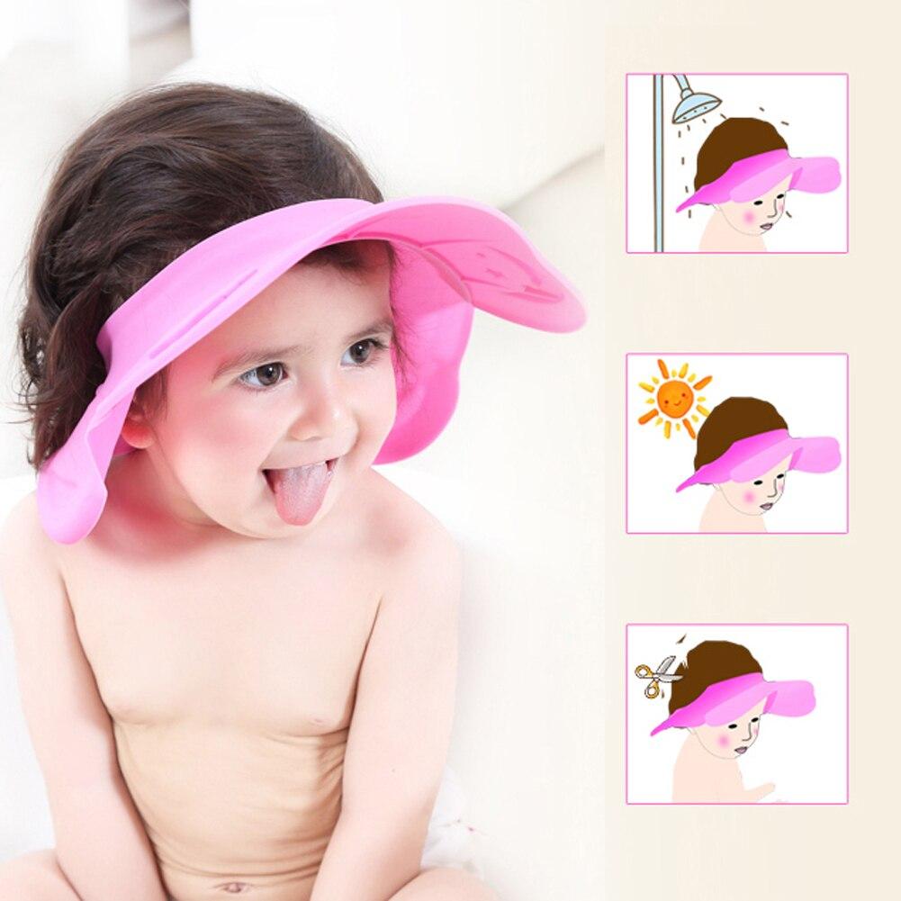 Pink Adjustable Baby Shower Cap Newborn Protect Shampoo Cap Hair Wash Shield for Children Baby Bath Care