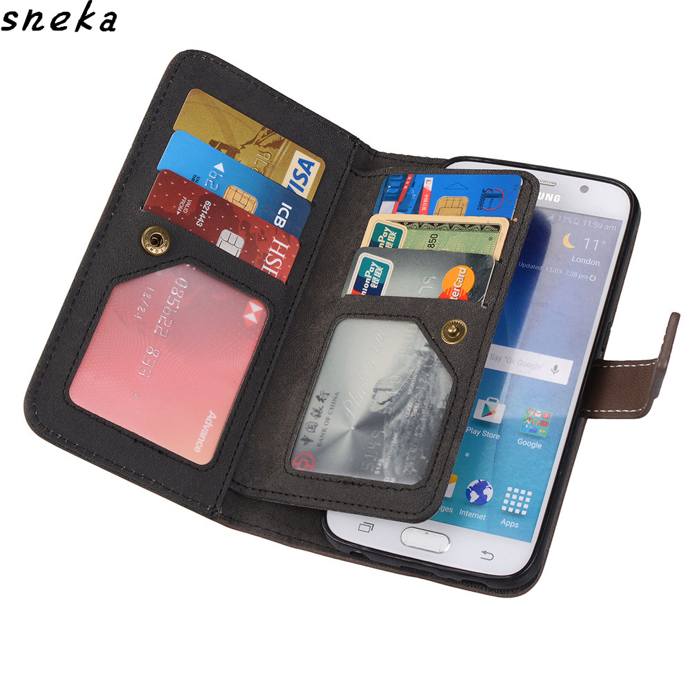 sFor Huawei P8 P9 Lite 2017 Case Luxury leather Multifunction Nine cards Wallet Flip Stent For