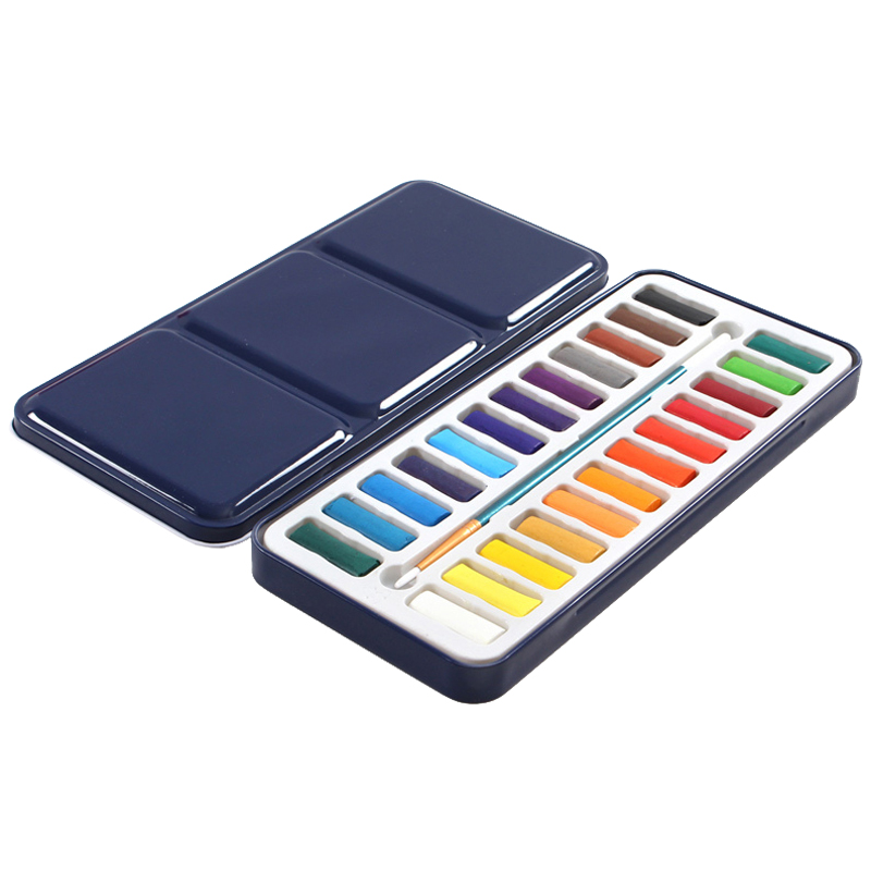 Perfect-24 Colors Portable Tin Box Solid Watercolor Paints Set For Artist School Student Drawing Painting Stationery Art Suppl 12 16 24 45 colors set art drawing set solid water color paint school supplies for artist children painting art paints