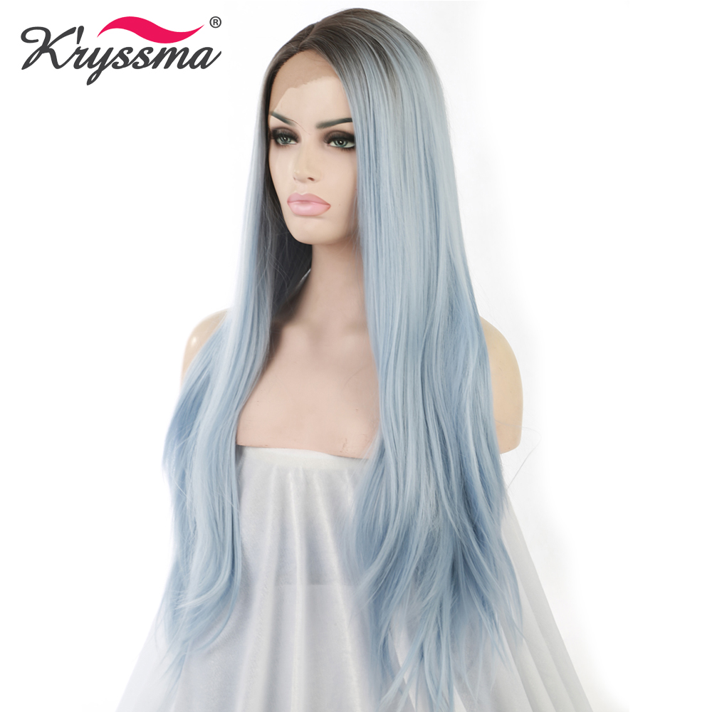 Blue Ombre Wig for Ladies Synthetic Lace Front Wig with Brown Roots Long Straight Light Blue Wig 24 Inches Right Part Fake Hair