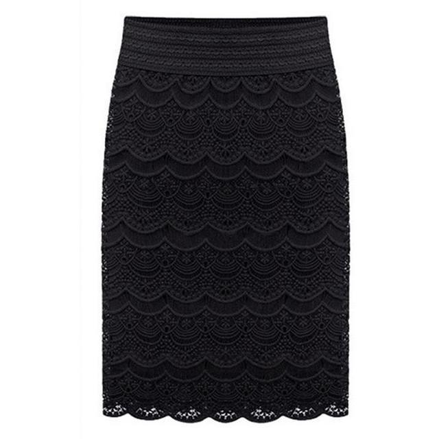 Falda 2016 de encaje de cintura alta bodycon para mujer faldas mujer saia curta negro feminino vintage formal ladies lápiz falda en la boda