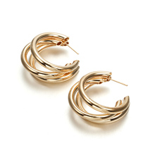 Punk Style Gold / Silver Color Earrings Creative Superposition Semi-Circular Opening Round Exaggerated Female jewelry