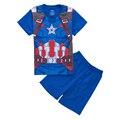 Cartoon Avenger Print Children's Pajama Sets T-shirt+Short Pants Boys Cotton Sleepwear Blue Color Home Clothes Kids Leisure Wear