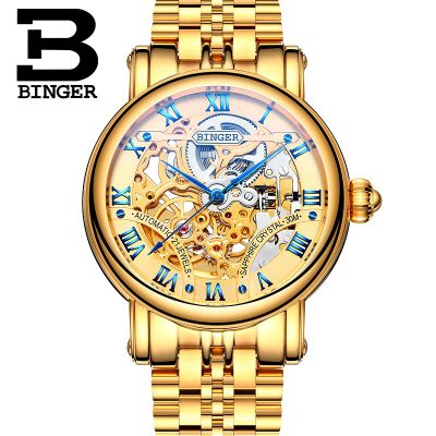 Hollow Brand Luxury Binger Wristwatch Gold Stainless Steel casual personality trend Automatic watch men Orologi hot sale watches hollow brand luxury binger wristwatch gold stainless steel casual personality trend automatic watch men orologi hot sale watches