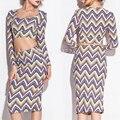 2016 Long Sleeve Women Sets Irregular Knee Length Long Sleeve Wave Leopard Print Split Dress Set Sexy Twin Casual Sets M160130