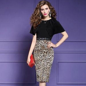 Image 1 - 2019 new Spring Designer Leopard Print sexy patchwork dress Women sexy Party Dress Plus Size Office short sleeved summer dresses