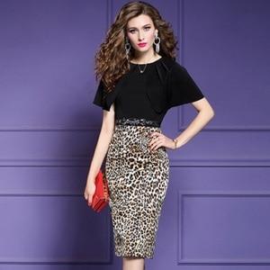 Image 1 - Vestido de Primavera de talla grande de leopardo, retazos