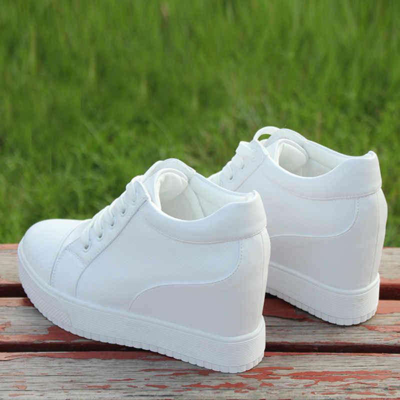 Nero Bianco Hidden Talloni di Cuneo scarpe da ginnastica Casual Scarpe Donna di alta Pattini Della Piattaforma delle Donne degli Alti talloni zeppe Scarpe Per Le Donne