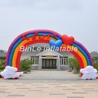 Hot sale 8mW beautiful rainbow inflatable arch with happy letters N hearts for wedding