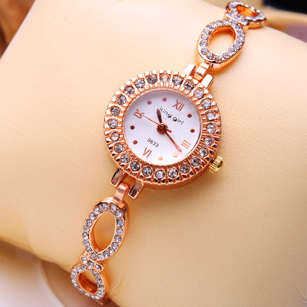 Nice Elegant Looking Small Dial Ladies Bracelet Watches 10Pcs Lot Free  Shipping Rose Gold Stone Decorated Fashion Women Watches f7f9161b7297
