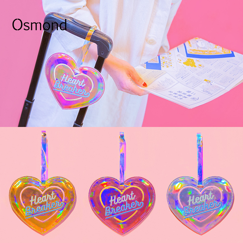 Osmond Hologram Laser Luggage Tags PU Leather Baggage ID Card Label Boarding Tag Suitcase Address Label Name ID Tag