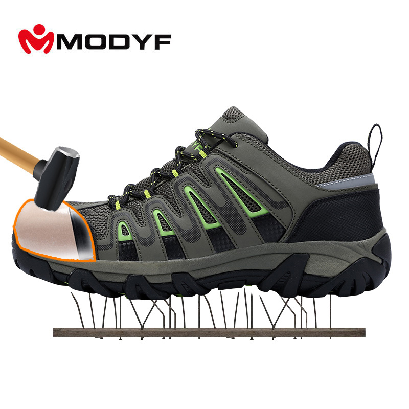 MODYF Outdoor Shoes For Men Steel Toe Cap Safety Shoes Breathable Climbing Sneaker Anti-smashing Puncture Proof Shoes