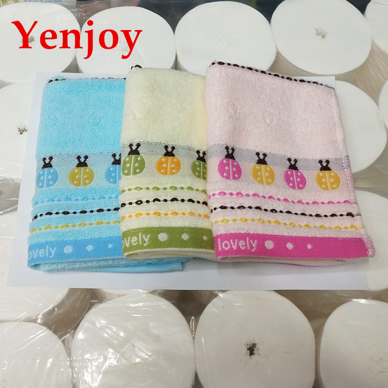 Hot sale ladybug cooling soft face towel Kids Washcloth wash Face Towels Baby Cotton Hand Towel Cute Cartoon Wipe For Children