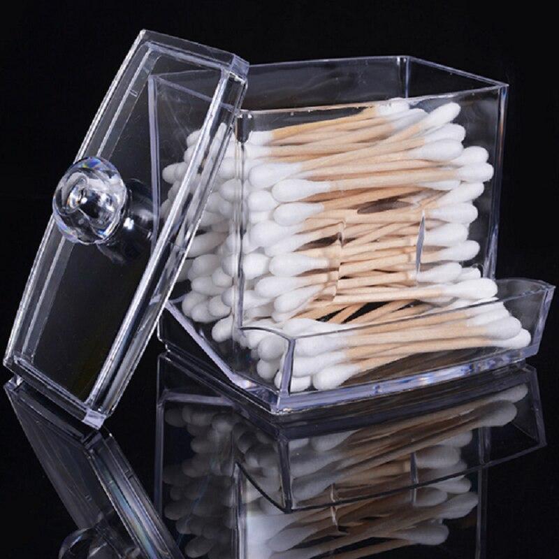 Transparent Acrylic Cotton Swab Sticks Makeup Organizer Storage Box Holder Cosmetic Storage Box Portable Cotton Pads Container
