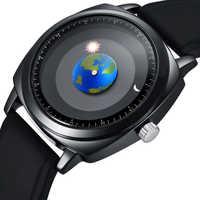 Personalidad de la moda creativa de rotación de la tierra reloj de mujer de cuero de deporte de cuarzo relojes para hombres y mujeres reloj montre femme
