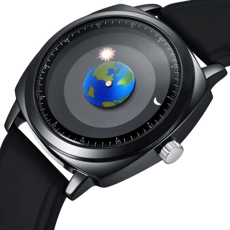Personnalité de La mode Creative Rotation De La Terre Montre reloj mujer Silicone En Cuir Quartz Sport Montres Hommes Femmes Montre montre femme