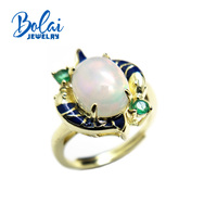 Bolaijewelry,Natural Opal oval 8*10mm and emerald gemstone fish Ring 925 sterling silver fine jewelry for women anniversary gift