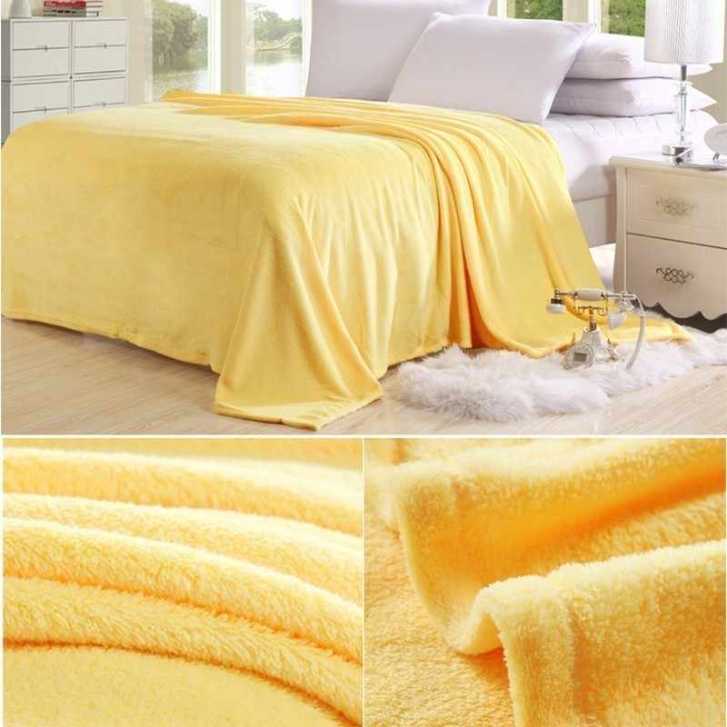 Cama Folha de Cama Cobertor Macio Morno Elegante Sólida Fleece Flanela Colcha Sofá Sofá Ar Condicionado Cobertor do Lance 2019 Mais Novo