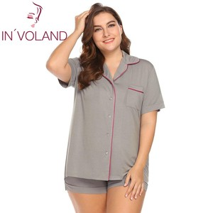 Image 2 - INVOLAND Vrouwen Pyjama Set grote Maat XL 5XL Nachtkleding Revers Korte Mouw Knop Boog Down Shirt Shorts Grote Lounge Plus Size