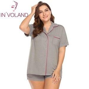 Image 2 - INVOLAND סט פיג מה נשים גודל גדול XL 5XL קשת כפתור למטה מכנסיים קצרים חולצה דש שרוול קצר הלבשת טרקלין בתוספת גודל גדול