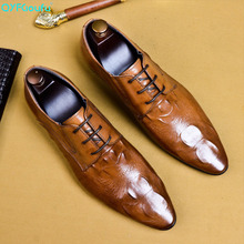 Men Dress Shoe Genuine Cow Leather Wedding Shoes Pointed Toe Casual Flats Shoes Crocodile Pattern Oxford Shoes US 11 mycolen new business dress men formal shoes wedding crocodile pattern pointed toe genuine leather flats oxford shoes for men