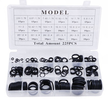 225Pcs Seal O-ring R22 R134a Air Conditioning O-Ring Rubber Washer Assortment BK and PL