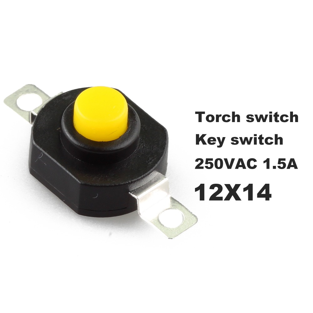10 PCS Open Close Key Switch Flashlight Switch 2 Foot Button Switch Height 9.4 MM