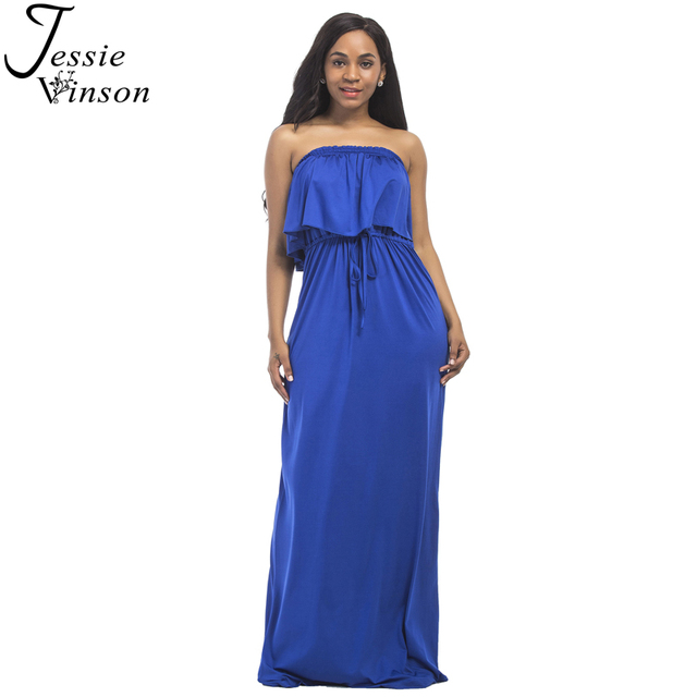 c4d494d97dc Jessie Vinson Fashion Women Strapless Plus Size Evening Maxi Dress Summer  Sleeveless Ruffle Long Dress Evening Party Tube Dress